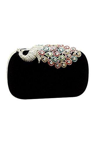 Sac a main - TOOGOO(R)Sac a main elegant de dames sac a main ideal pour robes de mariage et soiree (noir paon)