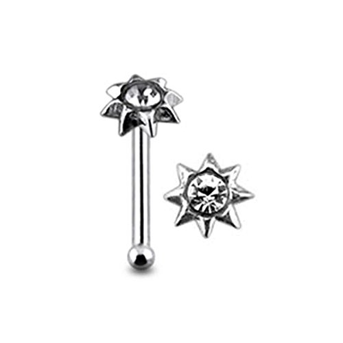 Mini Sonne klar Crystal Stein Top 22 Gauge 925 Sterling Silber Nase Knochen Stud Piercing
