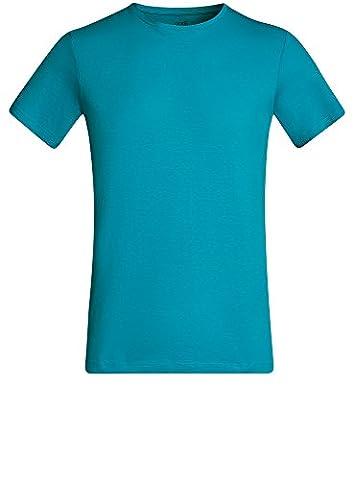 oodji Ultra Herren Gerades Tagless T-Shirt Basic, Türkis, DE 50 / M