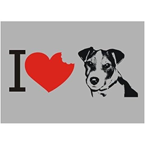 Teeburon I love Jack Russell Terrier SIlhouette Sticker Pacchetto di 4