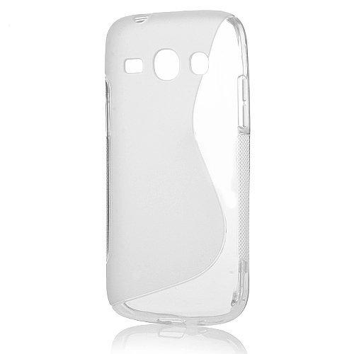 Transparent Étui Housse en TPU Silicone pour Samsung Galaxy Core Plus G3500 G3502 SM-G350 Transparente Model S Line Coque Arrière Souple Backcover de protection + Ultra Clear film de protection écran
