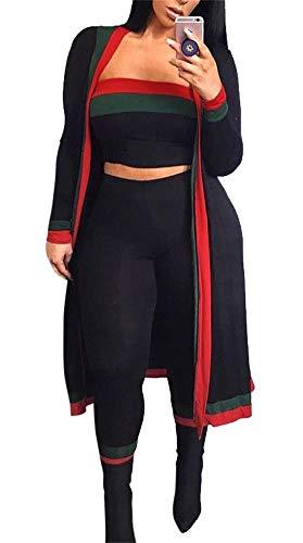 LKOUS 2-teiliges Sommer-Outfit 3/4-Ärmel, Lange Kimono-Cardigan und figurbetonte Hose, hohe Taille - schwarz - Groß