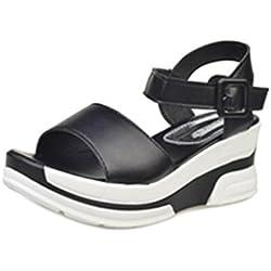 Culater sandalias mujer plataforma de verano Zapatos bajos Zapatillas (38, Negro)