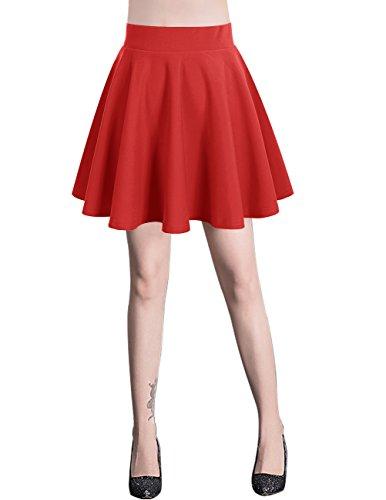 Bridesmay Damen Mini Rock Basic Solid vielseitige dehnbaren informell Minikleid Retro Sexy Rock Faltenrock Red M