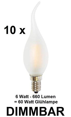 10 x dimmbare 6 Watt FADEN/FILAMENT LED Lampe Kerze Windstoß Milchglas Matt, Fassung E14, Retrofit, Warmweiss 2700 Kelvin, 660 Lumen wie ca. 60 Watt Glühlampe, ideal für Kronleuchter -