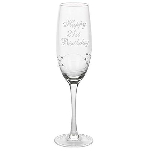 21st Birthday Gift Crystal Swirl Champagne Flute