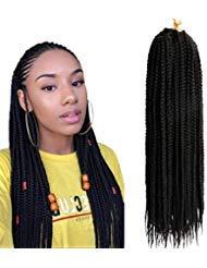 (6 Packs,45.7cm) Flechten JumboZopf Kanekalon kunsthaar schwarz Haarteil Zopf Haarverlängerung Echthaar 3X Crochet Braids Hair Extensions 20 Strands/pack (Häkeln Zöpfe)