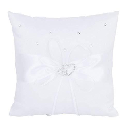 Coussin porte-alliances 10 x 10 cm par Fablcrew ; oreiller à anneau avec une boucle double cœur et un nœud en ruban, blanc, 10cm*10cm/3.94\