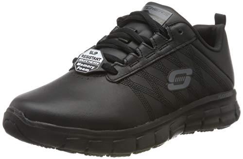 Skechers Sure Track Erath-II, Zapatillas sin Cordones para Mujer, Negro Black Leather Black, 38.5...