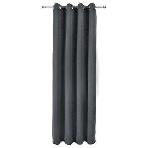 Beautissu Blackout-Vorhang Amelie mit Ösen – 140×245 cm Anthrazit (Grau) Uni – Verdunklungsgardine Ösenschal Blickdicht - 4