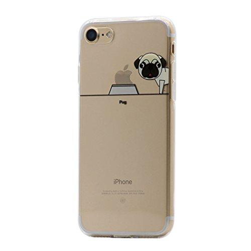 iPhone 8 / 7 Funda Carcasa , Keyihan Perro Lindo patrón Suave TPU Silicona Transparente Ultra Delgada y Ligéra Parachoques para Apple iPhone 8 / 7 (Doguillo Pug)