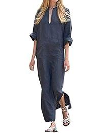 cc1b64427ee Minetom Robe Maxi-Longue Femme Boho Manches Longues avec Chic Motifs  Imprimés Bohème Col en