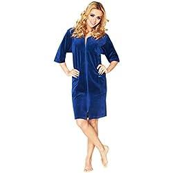 Luxe Femme Coton Peignoir Longueur Genou A Manches Courtes Et Fermeture Eclair, Marine, 38