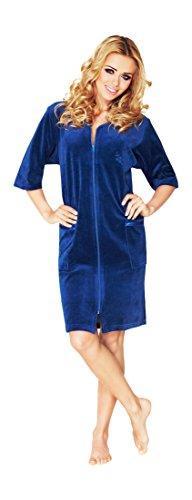 Luxe Femme Coton Peignoir Longueur Genou A Manches Courtes Et Fermeture Eclair