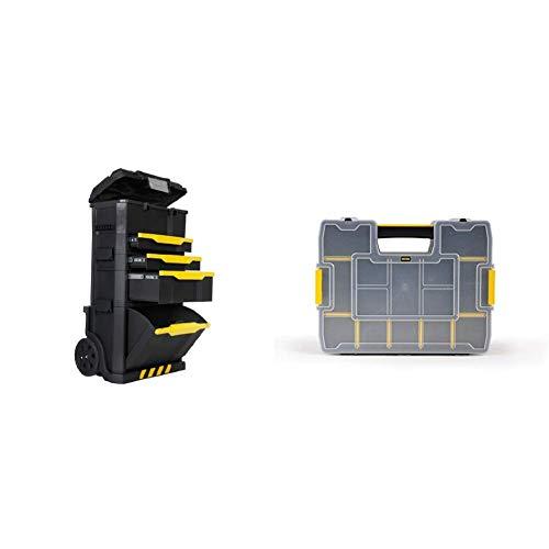 Stanley Rollende Werkstatt aus Metall-Kunststoff 1-79-206 – Werkzeugwagen leer mit 3 modularen Einheiten & Organizer SortMaster Junior Werkzeugbox leer 1-97-483