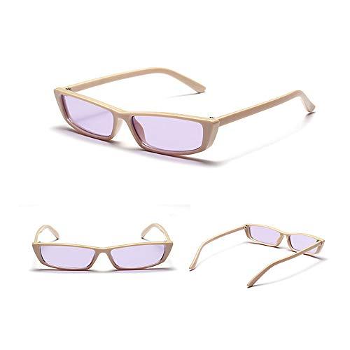 Aegilmc Rechteck Square Small Frame Sunglasses for Women Vintage Retro Small 90s Fashion Designer Cat Eye Bold Frame Shades,beige