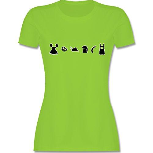 Oktoberfest Damen - Oktoberfest Piktogramme - tailliertes Premium T-Shirt mit Rundhalsausschnitt für Damen Hellgrün