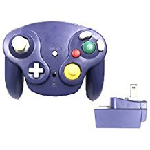 Poulep Classic 2,4 G Wireless Controller Gamepad mit Receiver Adapter für Nintendo WII U Gamecube NGC GC, Violett - Wii Controller Adapter Classic