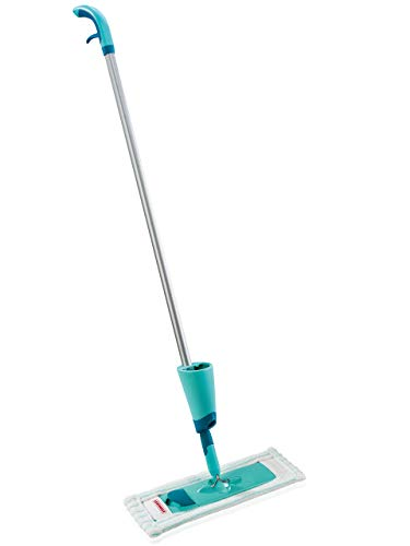 Leifheit 56690 Komfort Sprühwischer Easy Spray, XL, für schnelle Reinigung, Spray Mop mit Sprühdüse, Wischer mit Wassertank und 2-Faser-Wischbezug, XL, türkis