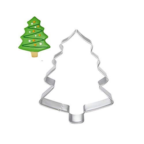 WANG 4pcs Christmas Tree Cookie Tool Cutter Mould Biscuit Press Icing Set Stamp Mold Stainless Steel Fondant Dessert Fondant Decoration,4pcs (Icing Cookie Christmas)