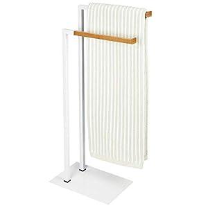 mDesign Soporte para toallas – Toallero de pie con dos barras para toallas grandes y pequeñas – Portatoallas compacto de…