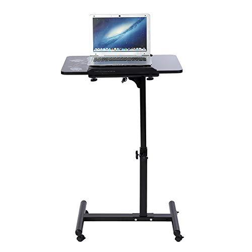 Cocoarm Laptoptisch höhenverstellbar Laptopständer mit Rollen und Kleiner Lüfter Multifunktionaler Rolltisch Sofatisch Tischständer Notebooktisch 60 x 40 x 88cm (Schwarz) (Sofas-clearance Und Sofa)