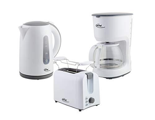 Elta 3-teiliges Frühstücksset Classic Line - Filterkaffeemaschine 1,25L, Wasserkocher STRIX Control 1,7L, Toaster mit Brötchenaufsatz -