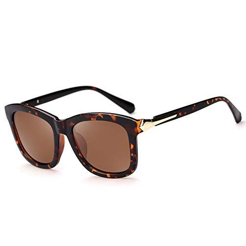 Thirteen Sonnenbrille Weibliche Runde Gesichtsmode Persönlichkeit Großer Rahmen Polarisierter Fahrspiegel, UV-Schutz, Blendung, Geeignet Für Eine Vielzahl Von Gesichtstypen. (Color : Leopard Print)