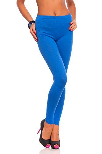 FUTURO FASHION Legging en Coton Pleine Longueur pour Femme, Grande Taille 44, Bleu Roi