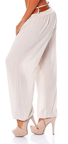 malito Damen Pumphose in Unifarben   Haremshose mit Gürtel   Aladinhose zum Chillen �?Freizeithose �?Hose 7177 cremé