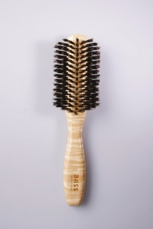 Brush - Classic Half Round Style 100% Wild Boar Bristles Light Wood Handle Bass Brushes 1 Brush by USA