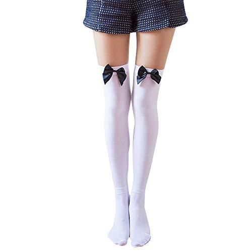 Deloito Damen Frühling Herbst Samt Hohe Socken Weiß Strümpfe Bogen Sexy Über das Knie Strümpfe (D,Freie Größe) -