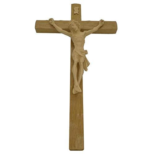 Wandkreuz Kruzifix Eiche Natur Christuskörper hell & INRI Kunstguss Oberfläche gekerbt 30 cm Kreuz für die Wand mit Corpus