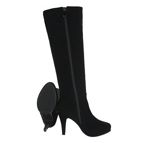 High Heel Stiefel Damenschuhe Klassischer Stiefel Pfennig-/Stilettoabsatz High Heels Reißverschluss Ital-Design Stiefel Schwarz