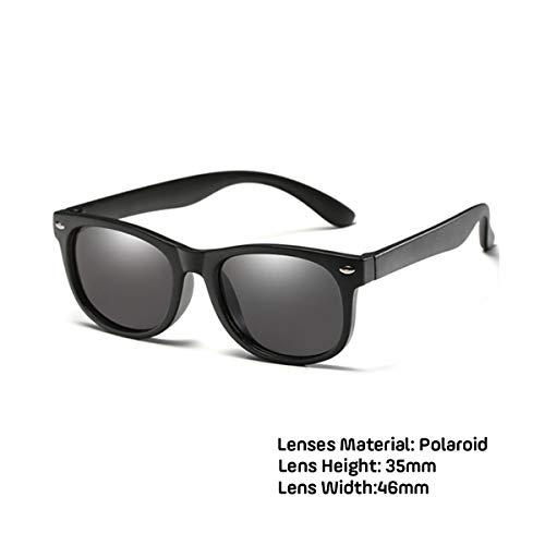 DYFDHA Sonnenbrillen New Kids Polarized Sunglasses Boys Girls Sun Glasses Silicone Safety Glasses Gift For Children Baby UV400 Eyewear matte black