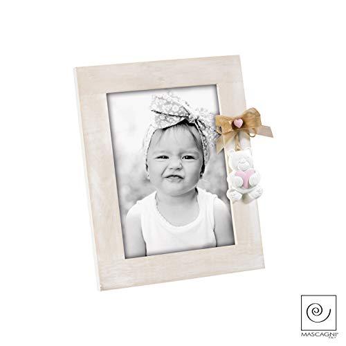 Mascagni a957portafoto in legno con orsetto in resina rosa bomboniera bambino 13x18cm
