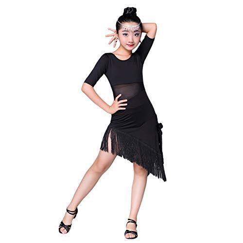 Meijunter Latein Tanzen Kostüme - Wettbewerb Praxis Bühne Performance Tanzendes Kleid Quaste Tanzbekleidung