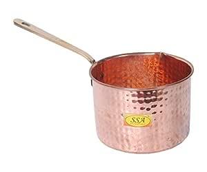 SHIV SHAKTI ARTS 28 cm X 10 cm X 10 cm Copper Sauce Pan Fry Pan Tadka Pan | 1250 ML | - Frying Cooking Serving Dishes Home Hotel Restaurant Kitchen, Diwali Gift Item