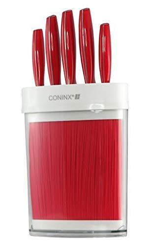 Coninx Maxa Messerblock Borsten Rot | Messerhalter Unbestückt Kunststoff | Mit Messer | Für sichere, saubere und geordnete Aufbewahrung der Messer | 5 Jahre Garantie |