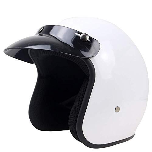 Motorrad-Halb Offener Helm Mit Sonnenblende, Jet-Helm Schutz Shell Helm Retro Oldtimer Helm, DOT/ECE-Zulassung, Für Männer Und Frauen,White-XL