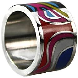 # 300Mujer Anillo de acero inoxidable Exclusiva brillantes esmalte joyas y multicolor tamaños 171819 rosa claro