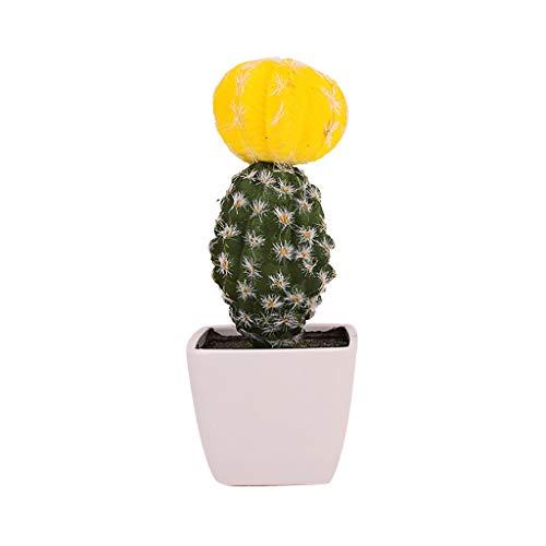Lucky Mall Künstliche Pflanze 1 Stück Künstlicher Blühender Kaktus, Büro Dekoration Künstlicher Grüne Topfpflanze Wohnaccessoires Deko