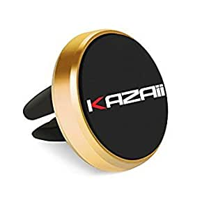 Car Mount Magic Grip Mobile Phone Cradle Air Vent Premium Magnetic Holder, Universal fits for all smart phones, cellphones, Iphone 6/ 6 Plus, Iphone 7/7 Plus, Samsung S6/S7, Nexus 7, GPS Devices – Gold by KAZAII