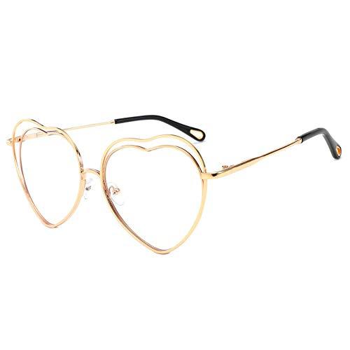 JPTYJ Sonnenbrille Geformte Frau des roten Herzens der Metallrahmenhohlen Liebe Brille
