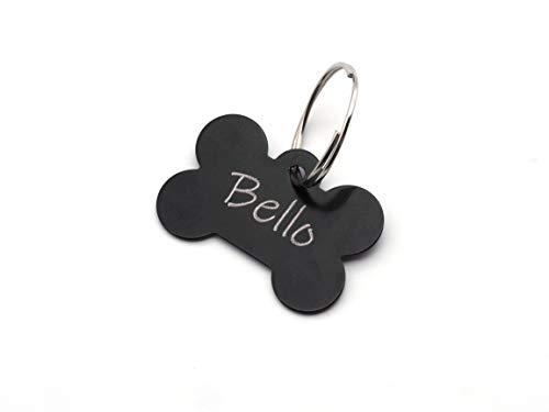 CopterFarm Hundeknochen, Haustier, Hundemarke mit Gravur beidseitig inkl. Schlüsselring | Knochen | Anhänger, ID Tag Hund, Adressschild, Adressmarke, Adressanhänger für Hundehalsband | Schwarz -