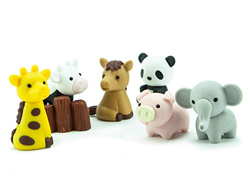 Ty Iwako Eraserz - Zoo Animals Pack, Colours May Vary - Figura de juguete (IWAKO ERZ2000)