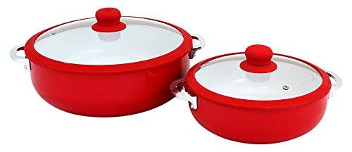 IMUSA CHI-80684 Kaldero-Set, Keramik, Antihaftbeschichtung, Rot, 2-teilig Caldero Set