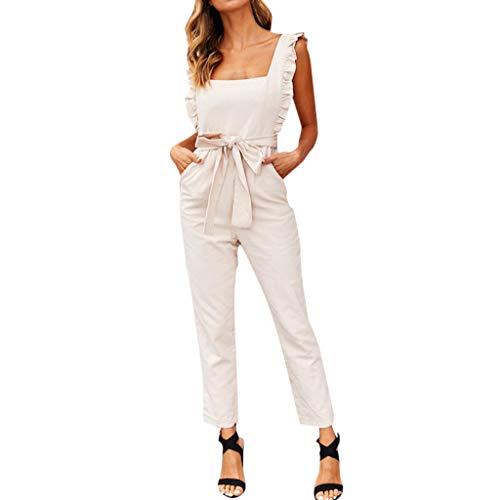 MakefortuneFrauen Sleeveless Belted Straight Leg Long Jumpsuit Kurz Kurzer Overall 3 Farbe Weiß Pink Khaki Größe S-XL -