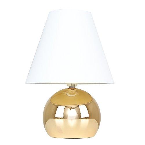 MiniSun - Lámpara de mesa táctil 'Doriane' - con bello acabado dorado y pantalla blanca