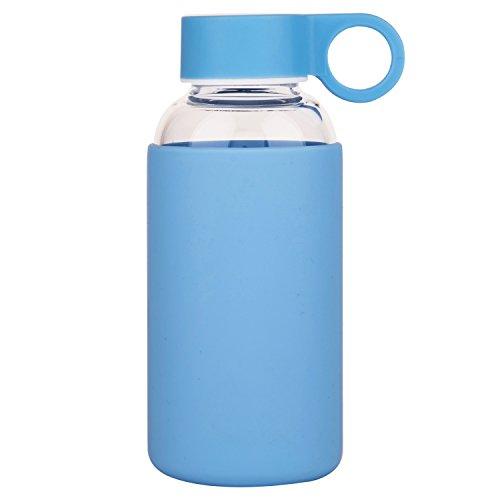 Justfwater Deporte Botella de Agua de Cristal con Funda de Silicona 35